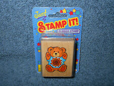 "1995 Noteworthy Just Stamp It! 2"" Teddy Bear W/ Sunflower Rubber Ink Stamp - New"