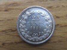 25 Cents 1893 Wilhelmina - Silber - rar - Erhaltung !!