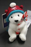 Hallmark Northpole Christmas Ornament Polar Bear  Plush Candy Cane HOLDER