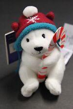 Hallmark Northpole Christmas Ornament Polar Bear Plush Candy Cane Holder