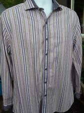 ROBERT GRAHAM * L  Purple Beige Stripe Paisley Flip Cuff Cotton L/S Shirt