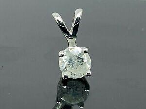 Diamond Pendant Round Brilliant 0.25ct Petite 4mm 14k White Gold Women's Kids