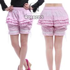 Girls Lolita Shorts Pink Flounced Pumpkin Bubble Bloomers Pants Cosplay Costumes
