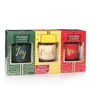 Yankee Candle ~ Holiday Small Jar Trio Balsam/Cedar, Cinnamon & Xmas Cookie New