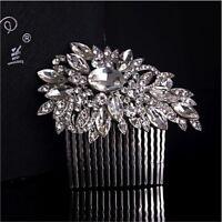 Bridal Flower Hair Comb Wedding Diamante Crystal Pearl Clip Slide Tiara Headband