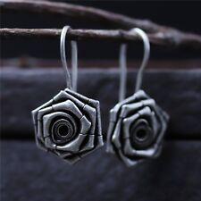 Pure S925 Sterling Silver Women Fashion Rose Flower Dangle Earrings / 8g