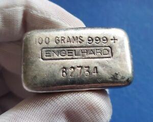 Vintage Engelhard 100 Gram (3.215 oz) .999 Silver Hand Poured Bar Ingot - Rare!