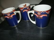 Neiman Marcus Coffee Mugs 3 Blue, Gold And Red Floral Design 3 Mugs
