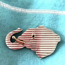& Sterling Silver Elephant Brooch Pin Vintage Tiffany Co Blue Sapphire 18K Gold