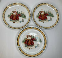 "3 GIBSON Everyday China Christmas Snowman Frolic 10"" Plates Trees Birds Yellow"