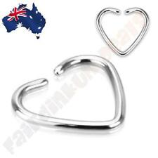 """316L Surgical Steel Heart Cartilage Ring """"Clip-On"""" Single Closure"""