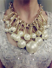 Fashion Women Jewelry Pearl Necklace Chain Statement Bib Chunky Collar Pendant
