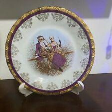 Vintage Decorative Porcelain ceramics glazed Japan plate Romeo and Juliet purple