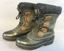 Sorel Alpine Black Brown Leather Insulated Rubber Winter Lace Boots Womens 6