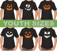 Youth Funny Pumpkin Face T-Shirt Mix Halloween Costume Jack O' Lantern Tee Shirt