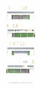 LE CORBUSIER Villa Savoye, Four Elevations 39.5 x 18.5 Poster Modernism Blue, Gr
