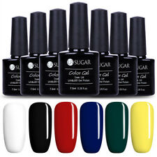 6 Bottles Soak Off UV Gellack Nagellack Schwarz Weiß Nail Gel Polish UR SUGAR