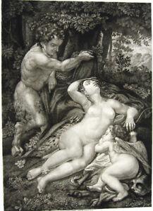 NAKED NUDE SLEEPING WOMAN GIRL SATYR MAN ~ 1886 Original Art Print Etching RARE!