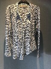 Ladies Zara Animal Print Zebra White Shirt Size L