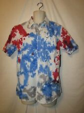 mens hurley surfer button shirt L nwt prospect tie dye blue