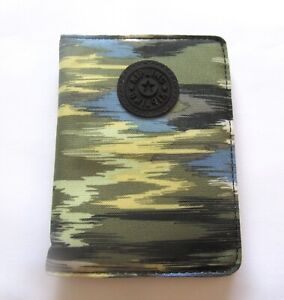 Kipling Camo Charms Passport Case- blue green yellow- 4 compartments