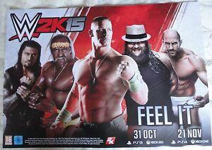 WWE 2K15 VIDEOGAME PROMO POSTER brand new UK promotional item!