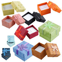24 Pcs Ring Earring Jewelry Display Gift Box Bowknot Square Case sky blue D9I9