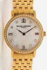 $10,000 Baume & Mercier 18k Yellow Gold 1ct Diamond MOP MIDSIZE Ladies Watch 46g