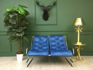 Vintage Retro Mid Century Industrial Blue Pieff style Two seater Sofa