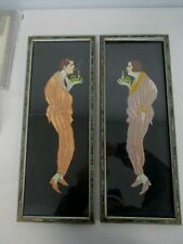 ANTIQUE FRAMED ART DECO EMBROIDERED HAND PAINTED MAN & WOMAN LIGHTING CIGARETTE