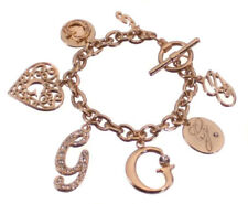 Guess Bracelet Gold Crystal Heart Charm Logo G Gift Jewelry