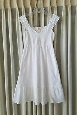 Anthropologie Maeve White Smocked Ruffled Summer Dress 0 XS