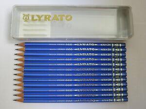 12 VINTAGE LYRA PENCILS: <LYRATO> 666 3H + BOX -  MADE IN GERMANY, UNUSED, NOS
