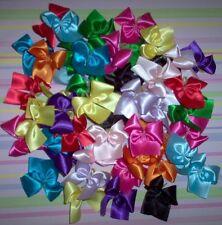 Dog Grooming Bows 50 Medium Satin Solid Colored Dog Bows Hand Made USA