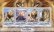 Togo 2017 MNH Lions Lion 4v M/S Big Cats Wild Animals Stamps