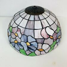Vintage Tiffany-Style Table Lamp Shade Pink Blue Lavender Bronze Tone