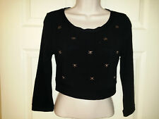 Joyce Leslie Black Knit Cropped Sweater with Miniature Bronze Skulls Sz. M