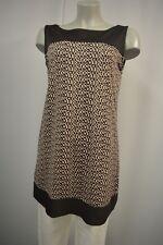 COMMA Mini Kleid long Tunika 42 Braun-Beige Ärmellos Muster TOP *A875