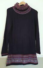 M&S Indigo Navy Jumper Dress Cowl Neck Fairisle Nordic Angora Blend Pockets UK 8