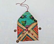 Old Vtg Mirror Work BOHO HIPPIE Pom Pom Embroidered Clutch/Wallet/Purse/Bag  P2