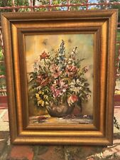 Ölbild Ölgemälde Bild Blumenstilleben gerahmt signiert 30x25