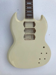 3 Humbuckers Milky White Guitar Body and Neck with Rosewood Fingerboard Fit SG