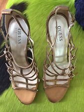 Guess. Stiletto Sandals Size 8 M B Perfect Gold Shoes Metallic Strap Buckle