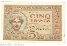 5 Francs Madagascar P-35-2 de 1937 a 1947 SUP  ( 204 )