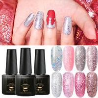 MTSSII 6ml Glitter UV Gel Rose Gold Color Nail Art Polish Soak Off Manicure DIY