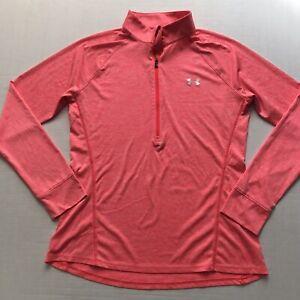 Under Armour Womens L Orange Pink Space Dye 1/4 Zip Heat Gear Athletic Top Loose