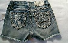 NWT MIss Me Blue Jean Denim Shorts Aztec Fray Size 25 size 0. 2 Sizes