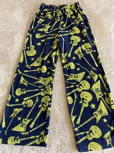 Gap Kids Boys Navy Blue Green Guitars Fleece Pajama Pants 8