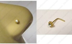 18k Gold Plated Nose Stud Pin Ring L Shape Coiled Flower CZ Thin 22 gauge 22g
