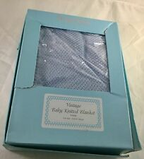 New Bubba Blue Vintage Knit Cot Baby Blanket in Gift Box Blue